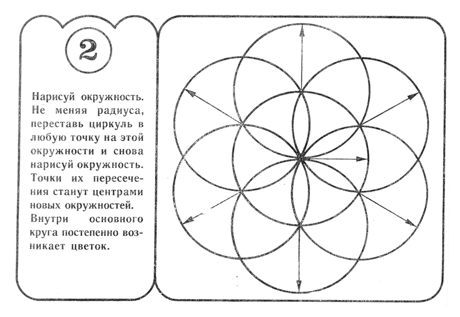 Как сделать из циркуля цветок поэтапно